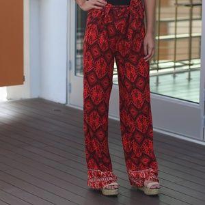 Red wide leg printed pants